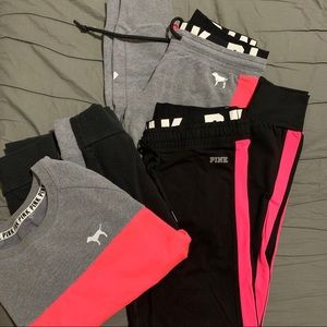 VS Pink 3 piece set! Grey & black with hot pink!